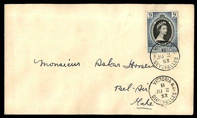 June 2, 1953 Victoria Seychelles coronation first-day cover royalty