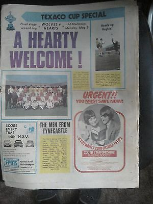 Wolves V hearts Texaco cup final special newspaper
