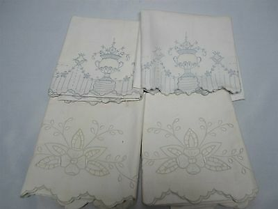 4 VINTAGE PURE LINEN STANDARD SIZE PILLOWCASES w EMBROIDERY & CUTWORK