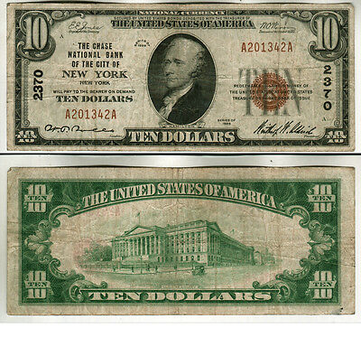 1929 Brown Seal Chase National Bank Ofnew York City $10.00 Note