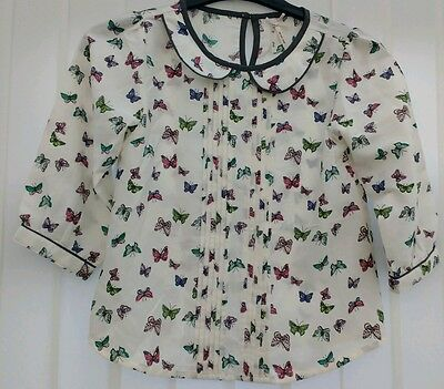 Girls cream blouse top age 10 years from Next beautiful butterfly print