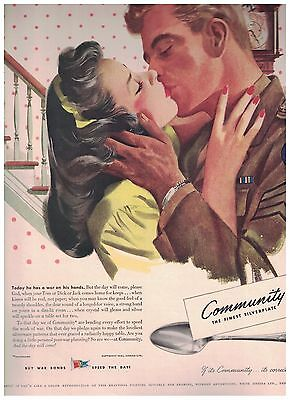 Back Home For Keeps - Soldier Kissing His Wife in 1943 Community Silverplate Ad
