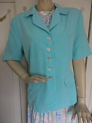 "New Size 16 ""New Look "" jacket turquoise blue with short sleeves"
