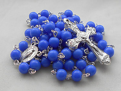 ✫ Blue ✫ ROSARY Miraculous Medal Centre Glass Beads Catholic Crucifix