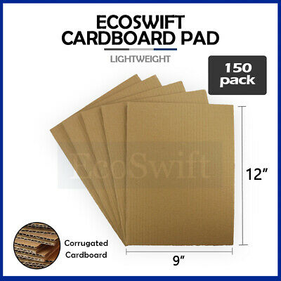 "150 9x12 Corrugated Cardboard Pads Filler Inserts Sheet 32 ECT 1/8"" Thick 9 x 12"