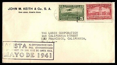 Costa Rica Mayo De 1941 Airmail Cover  2 color Franking to United Sates