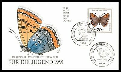 April 9, 1991 Blauschillernder Germany First Day Cover Butterfly