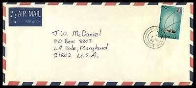 September 3 1984 Tuvalu Single Franked Airmail Nice Cover To La Vale Maryland Us