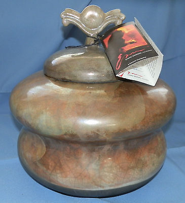 Tony Evans Pottery Designs Raku Glazed Pot and Lid Signed #28 11""