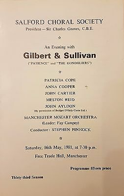 Gilbert & Sullivan Salford Choral Society Theatre Programme 1981