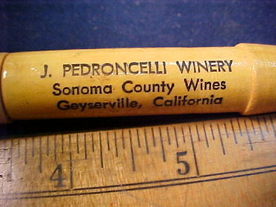 vintage Petroncelli Winery Geyserville Ca advertising cork screw