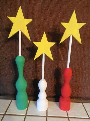Wood Holders With Stars  Set Of Three  Hand Made So Cute