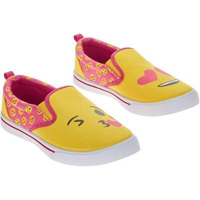 Girls Emoji Pink Canvas Shoes Size 12 13 1 2 3 4 New!