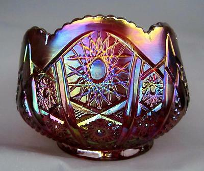 """MODERN CARNIVAL GLASS - INDIANA HEIRLOOM SUNSET (Red) 6½"""" Rose Bowl #2304 - 70s"""