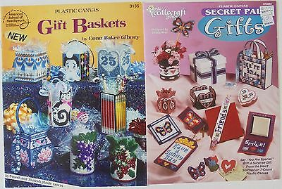 Lot of 2 Secret Pal Gifts Baskets Boxes Bags Coasters Plastic Canvas Pattern