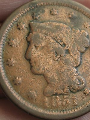 1851 Braided Hair Large Cent, VG Details