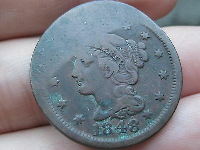 1848 Braided Hair Large Cent Penny- VF Details, Elongated