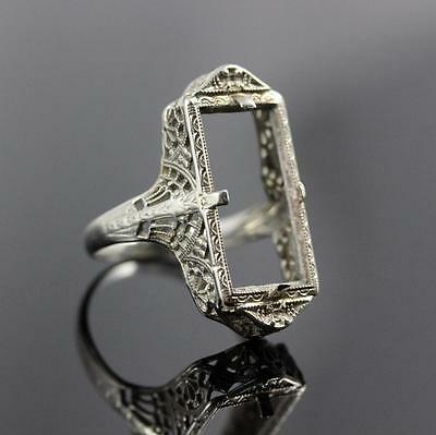 Stunning Belais Victorian Large 14K White Gold Filigree Mounting Size 5.25 Ring