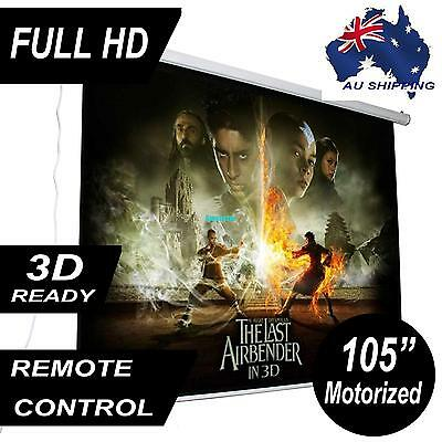 """105"""" Electric Motorised Projector Screen Home Theatre HD TV Projection 3D"""