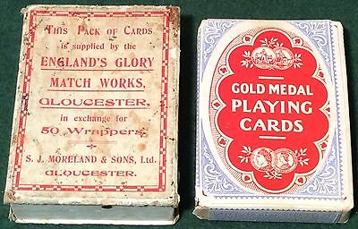 ANTIQUE c1900 TAX WRAPPED GOODALL * ENGLAND'S GLORY MATCHES * WIDE PLAYING CARDS