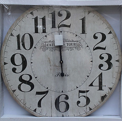French Country  Style  Wood  Wall Clock    60 cm    BRAND NEW    * REDUCED *