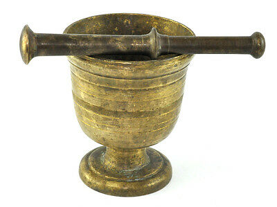 Vintage Large Solid Brass Mortar And Pestle Apothecary Medicine