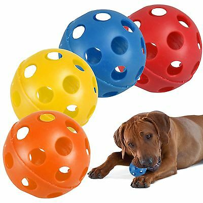 4 Pack Large Hollow Plastic Coloured Air Flow Pet Play Balls Dog Cat Puppy Toy