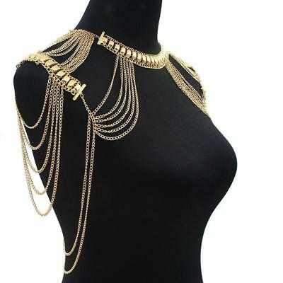 Gold Harness Necklace Shoulder Body Chain Bikini Tassels Statement Jewelry