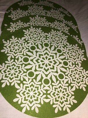 "4 large 15"" green felt round snowflake winter CHRISTmas placemats doilies decor"