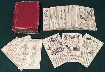 ANTIQUE c1820s FRENCH GEOGRAPHIC PLAYING CARDS GAME GEOGRAPHIQUE DEPARTEMENS FR