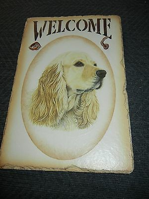 Slate.rock.stone.cocker Spaniel.dog.welcome Sign.leather Hang Strap.