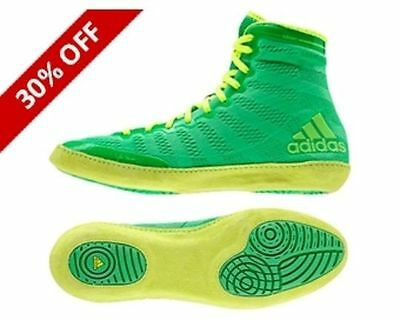 Adidas Wrestling AdiZero Core Green Yellow Boots Shoes Adults - S77932
