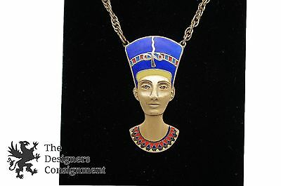 Cloisart Nefertiti Pendant Gold Tone Enameled Egypt Pharaoh Necklace Cleopatra