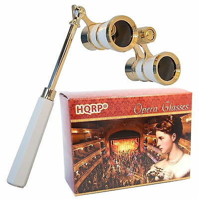 HQRP 3x25 Opera Glasses w/ Handle Crystal Clear Optic CCO White-Pearl Gold Trim