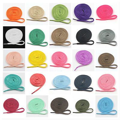 6mm OVAL 70cm - 180cm SHOE LACES *8 LENGTHS & 36 COLOURS* TRAINERS SHOELACES