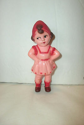 Vintage Celluloid Girl In Pink Dress, Hands On Hips, Very Saucy