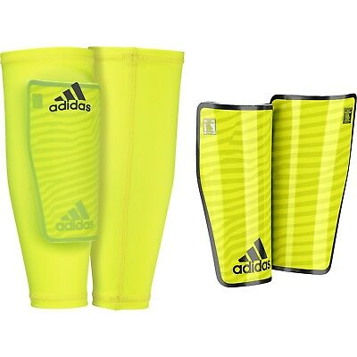 adidas X Pro Lite Lightweight Compression Sleeve Shin Pads Football Kit Yellow