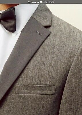 NEW MICHAEL KORS PASSION Tuxedo Suit Slim-Fit Grey Charcoal GRAY 2-Button Grey