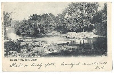 EAST LINTON View on River Tyne, East Lothian, Old Postcard Postally Used c1910