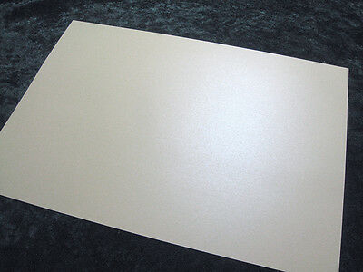 10 x sheets A4 Double Sided White Pearl/Pearlescent Card - 250gsm Gold Shimmer