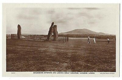 LUNDIN LINKS Standing Stones on Ladies Golf Course, RP Postcard by Valentine