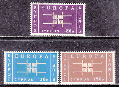 1963 Cyprus Europa Set/3 #229-231, Vf, Mint Very Lightly Hinged
