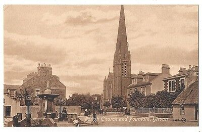 GIRVAN Parish Church and Fountain, Valentine Postcard by Cully of Girvan Unused