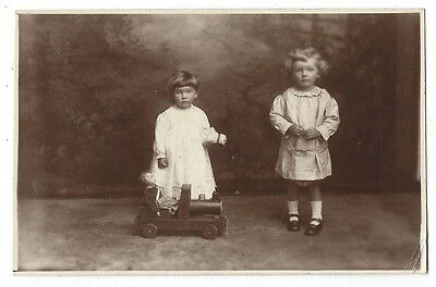 SOCIAL HISTORY Children with Toy Train, RP Postcard by Holloway-Miller of Leith