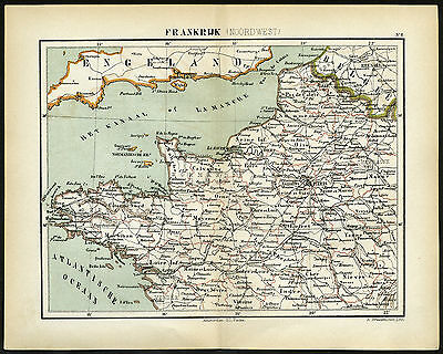 Map Of Northwest France.Northwest France Brittany Normandy Seine 1883 Antique Engraved Color