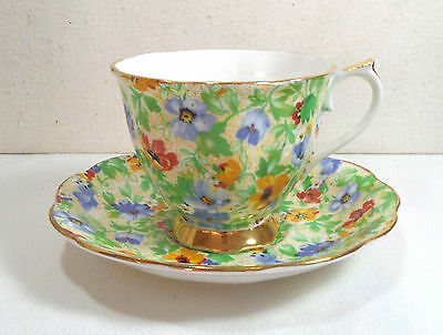 VTG Chintz Design Cup and Saucer Imperial Bone China England Floral Yellow Blue