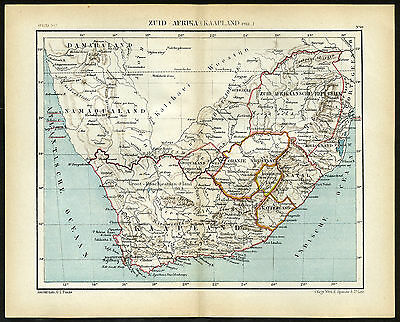 Antique Map-SOUTH AFRICA-CAPE OF GOOD HOPE-NAMIBIA-NATAL-Jacob Kuyper-1880