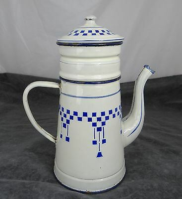 Antique French Enamelware Biggin Coffee Pot White Checkered Blue