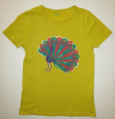 Mini Boden girl short sleeve carnival rainbow peacock top t-shirt **has stains**