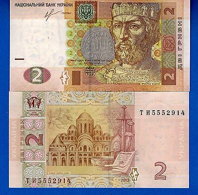 UKRAINE  P-117 Year 2013 Two Hrynia Uncirculated Banknote